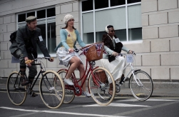 Participants of the Tweed Run in London on May 6th 2017