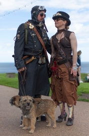 Whitby SteamPunk Weekend July 2017. Image shows a visually creative and stylish couple dressed in SteamPunk style.