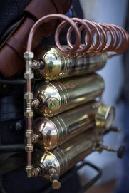 Whitby SteamPunk Weekend July 2017. Image shows visually creative and stylish innovation in SteamPunk style. Brass and copper coil steam powered workings.