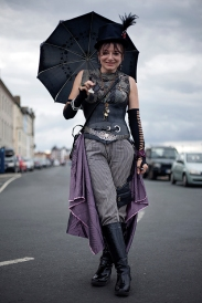 Whitby SteamPunk Weekend July 2017. Image shows a woman dressed in SteamPunk style.