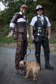 Whitby SteamPunk Weekend July 2017. Image shows two visually creative and stylish men dressed in SteamPunk style.
