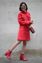 Street Style from Day one of London Fashion Week, Spring Summer 2018, on Friday September 15th 2017. Image shows Fashion entrepreneur and stylist Candy Li of HARDcANDY having fun with the colour red.