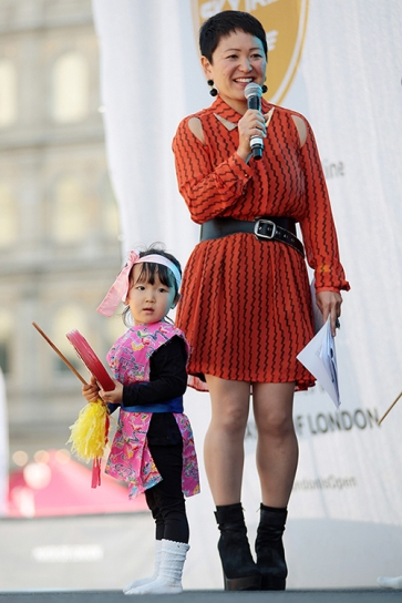 Japan Matsuri 2017 which took place in Trafalgar Square, London, 24th September 2017. Image shows a member of the Eisa Dance. Children of the London bunka Yochien.