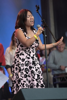 Japan Matsuri 2017 which took place in Trafalgar Square, London, 24th September 2017. Image shows the singer and winner of the Karaoke contest, performing the song Everything by MISIA.
