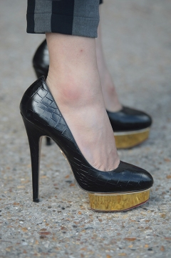 Street Style during Paris Fashion Week Spring Summer 2018 on Saturday 30th September 2017. Image shows a pair of high heel platform sole shoes by Charlotte Olympia.