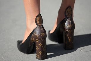 Street Style during Paris Fashion Week Spring Summer 2018 on Saturday 30th September 2017. Image shows high heel shoes by Louis Vuitton.