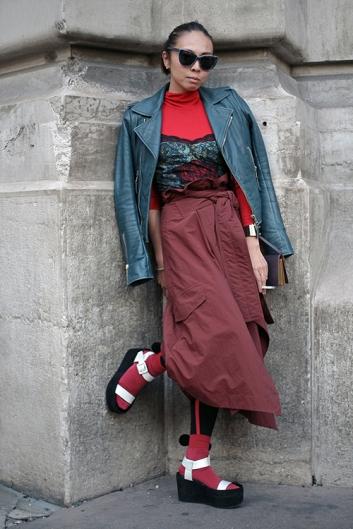 Street Style during Paris Fashion Week Spring Summer 2018 on Saturday 30th September 2017.