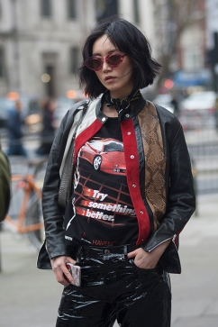 Street Style from day three of London Fashion Week Mens AW 2018. Image shows model and and Co Funder of Moi Atelier Betty Bachz.