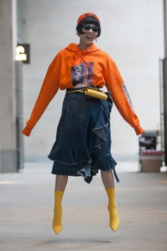 Street Style from day three of London Fashion Week Mens AW 2018. Image shows Chinese fashion buyer Harper Silin.