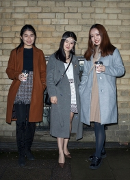 Three stylish Chinese women seen at a special theatrical immersive performance of The Great Gatsby, held in London on Sunday 11th March 2018.