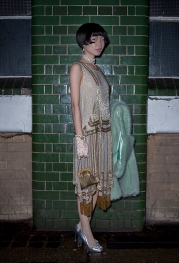 Fashion buyer and influencer Harper Silin seen here, dressed in an original vintage 1920s Flapper dress, styled by Pat Lyttle. She was seen at a special theatrical immersive performance of The Great Gatsby, held in London on Sunday 11th March 2018.