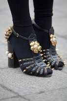 Street Style from day three of London Fashion Week AW 2018. Image shows a pair of high heel spike and embellished shoes by Gucci.