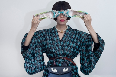 Image shows Chinese Fashion influencer Harper Silin, seen here wearing a vintage Japanese haori with a bag by GB David, and butterfly detail lace heels by Aruna Seth.