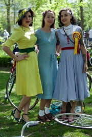 Super stylish cyclists attend the 2018 Tweed Run in London, on its 10th anniversary. The event sees hundreds of stylish individuals dressed in tweed, often full authentic vintage ensembles, take to the streets of London, on various forms of personal peddle powered cycle orientated transport.
