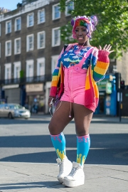 This is Effi from West London. She wears a playsuit by Cyberdog, a long sleeve rainbow coloured shirt by Japanese brand Galaxy, with cool socks from Takeshita Dori in harajuku, Tokyo and shoes from eBay.