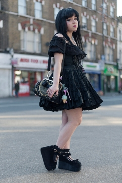 This is Karen Nagato from London, dressed all in black in Gothic Lolita style, she wears a dress by Atelier Pierrot, a bag by Irregular Choice and Mon Lily sweet doll shoes by Honey Cherry.