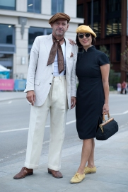 Image shows various people attending the Classic Car Boot Sale, held at granary Square, Kings Cross in London, on Saturday August 18th. Many people that attended dressed up in vintage fashion clothing and style.