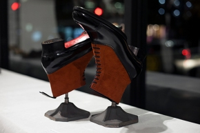 Japanese Luxury bespoke Shoemaker's Incredible Crazy Creations, and works of art, seen at his at solo exhibition of by Noriyuki Misawa, at the Sway Gallery, in London on December 6th 2018