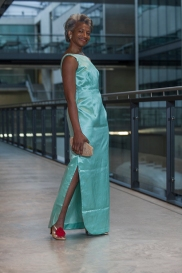 Maureen Salmonfounder director ofFreshwaters Consultancy, is also senior lecturer and researcher at the University of the Arts London. In this image Maureen wears a long green vintage dress by designer Henrietta Franklyn, London, 2003, with heels by Chie Mihara. Her hair is styled by Radiant Salon.