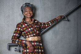 Maureen Salmonfounder director ofFreshwaters Consultancy, is also senior lecturer and researcher at the University of the Arts London. In this image Maureen wears an African vintage inspired Textile belted Dress, by designer Abdoulaye Barry, Khorey Couture, Dakar, 2018. Her hair is styled by Radiant Salon.