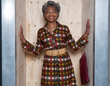 Maureen Salmon founder director of Freshwaters Consultancy, is also senior lecturer and researcher at the University of the Arts London. In this image Maureen wears an African vintage inspired Textile belted Dress, by designer Abdoulaye Barry, Khorey Couture, Dakar, 2018. Her hair is styled by Radiant Salon.