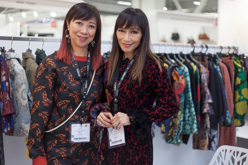 Design Director Shery Lau and Merchandising Manager Jannet Lau, from a Chinese brand called Syra J spotted at PURE London at London's Kensington Olympia during the weekend of February 10th - 12th 2019