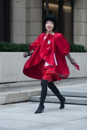 Street Style during day two of London Fashion Week AW 2019. Image shows Chinese Influencer and fashion blogger, Harper Silin.