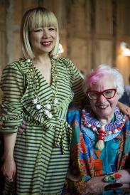 Voices of East London, from Shoreditch to Oxfordshire. A unique artistic shopping experience at Bicester Village, Oxfordshire. Image shows Fashion Designer and Entrepreneur Mei Hui Liu (L) with Artist Sue Kreitzman (R).