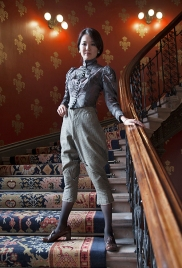 Fashion by Personal Vintage Stylist Pat Lyttle, using items from his private archive collection, modelled by Aifrom Japan. She wears an early Victorian bodice with gentlemen's trousers by Huntsman & Sons.
