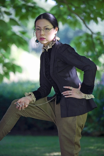 Manga artist Sonia Leong poses for a picture during a fashion shoot in Cambridge England. She wears a vintage Victorian riding jacket and vintage jodhpurs, styled and photographed by Pat Lyttle.