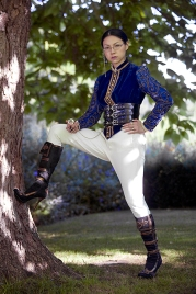 Manga artist Sonia Leong poses for a picture during a fashion shoot in Cambridge England. She wears a vintage velvet Victorian jacket and vintage jodhpurs with pirate boots, styled and photographed by Pat Lyttle.
