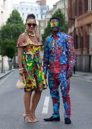 Street style shot on day two of Africa Fashion Week London 2019. Image shows singer Showers Jalloh posing for a picture with his friend