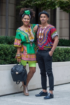 Street style shot on day two of Africa Fashion Week London 2019. Image shows Image Consultant Duduyemi on the left with male friend