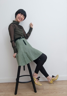 Two lovely young South Korean sisters on a visit to London, allowed me to style them for a day. Image shows Gabin Lee. She wears a vintage sheer top with matching skirt, from the 1950s with kitten heel shoes from Diana Japan.