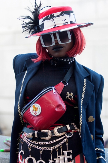 Street Style on day one of London Fashion Week SS 2020, outside Canada House in Trafalgar Square on Thursday September 12th 2019. Image shows Cookiie dressed up in one of her creations