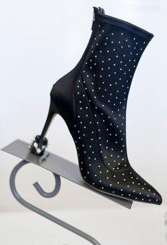 Image shows High heel ankle boots with an elegant slim heel, protected by stylishly designed krippit. One of the designs on day one of London Fashion Week, at Canada House in Trafalgar Square, on September 12th 2019
