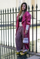 Street Style on day one of London Fashion Week SS 2020, outside Canada House in Trafalgar Square on Thursday September 12th 2019. Image shows fashion designer Olivia Rubin from Canada. She wears a jacket top and corset, all designed by herself, Cos socks with a bag and heels all vintage items.