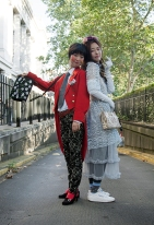 Street Style on day two of London Fashion Week SS 2020 on Friday September 13th 2019, showcasing stylish individuals London is internationally known for. Image shows sisters Gabin and Gayeon Lee, Styled by Pat Lyttle for LFW, both in a complete vintage ensemble.