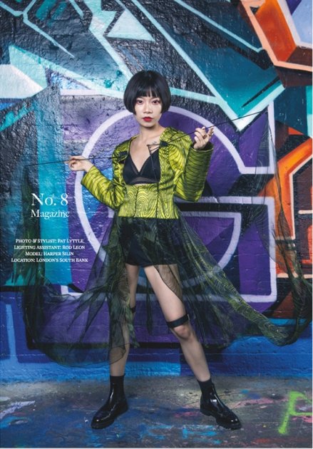 Editorial fashion photo-shoot published in No.8 Magazine September 2019 issue, with Chinese blogger and influencer Harper Silin. Photographed and styled by Pat Lyttle, with lighting assistant Rod Leon. Harper wears a metal framework jacket, dress by Kelly Langridge Designs
