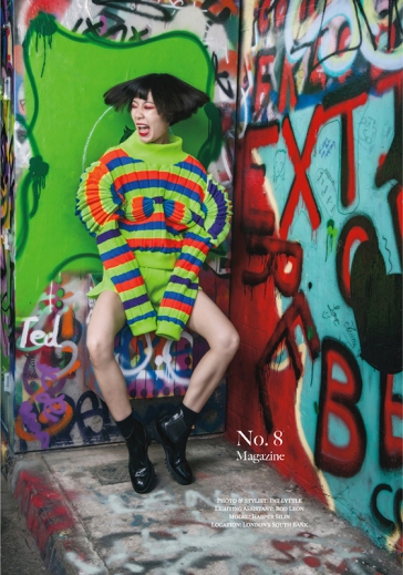 Editorial fashion photo-shoot published in No.8 Magazine September 2019 issue, with Chinese blogger and influencer Harper Silin. Photographed and styled by Pat Lyttle, with lighting assistant Rod Leon. Harper wears a knitwear top and pants, all by Jojo Ruiji Zhou.