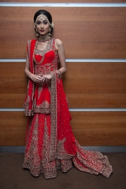 Images from The National Asian Wedding Show & India Fashion Week London at the Novotel in Hammersmith on Saturday 16th 2019, shot by Stylist Pat Lyttle. Image shows a model wearing traditional Indian bridal jewellery and dress.