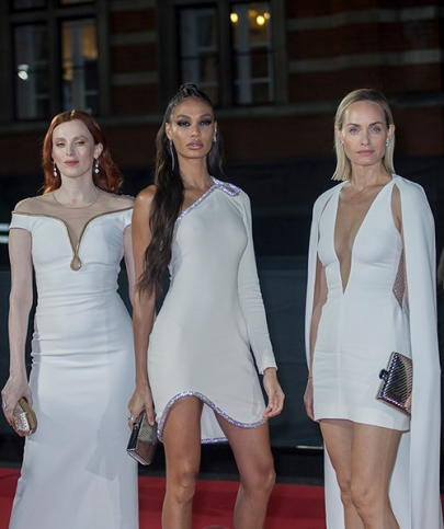 "Red carper arrivals at ""The Fashion Awards 2019"", which took place at The Royal Albert Hall in London, on December 2nd 2019. Image shows models Karen Elson, Joan Smalls and actress Amber Valletta"