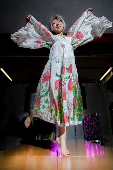Fashion styling and photography by Pat Lyttle. Image shows 王佳娴 Wang Jiaxian in a vintage fashion photo-shoot in January 2020. Jiax wears a vintage 1970s feminine floral print dress which she loved very much.