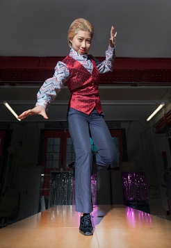 Fashion styling and photography by Pat Lyttle. Image shows 王佳娴 Wang Jiaxian in a vintage fashion photo-shoot in January 2020. Jiax wears a vintage waistcoat by Escada, with a 1980s blouse, with trousers by J-Crew and patent leather customised Oxford heel brogues