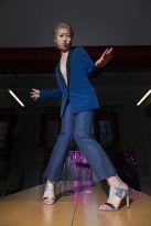 Fashion styling and photography by Pat Lyttle. Image shows 王佳娴 Wang Jiaxian in a vintage fashion photo-shoot in January 2020. Jiax wears a blue jacket, with trousers by J-Crew and high heel mules by Stuart Weitzman for Russell & Bromley