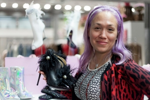 Images from SCOOP International Fashion Event on Feb 9th 2020, showcasing designers and brands for the AW 2020 season. Image shows luxury footwear designer Mary Ching.